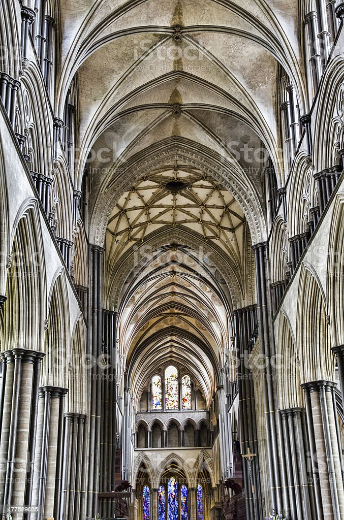 Vaulted Ceiling in the Salisbury Cathedral stock photo