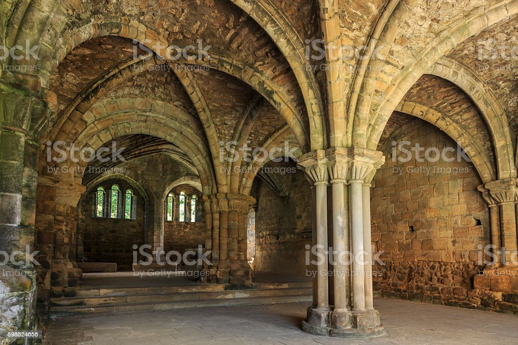 Vaulted ceilings and arches in Kirkstall Abbey in Leeds stock photo