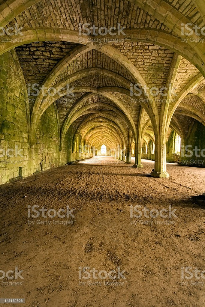 Vaulted ceilings in Fountains Abbey - N Yorkshire stock photo