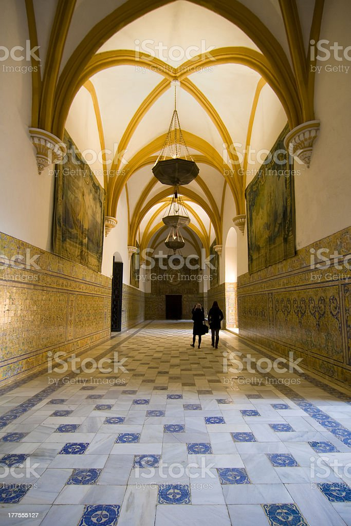 Vaulted hall in the Alcazars stock photo