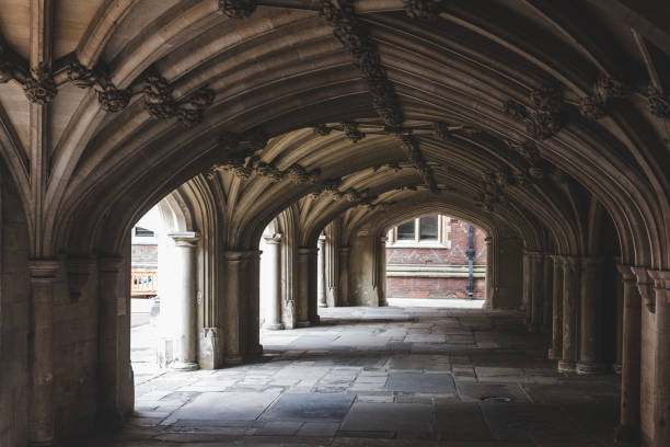 vaulted undercroft below the lincoln's inn chapel, london - crypt stock pictures, royalty-free photos & images