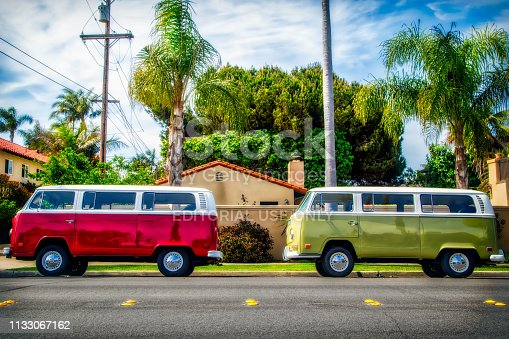 Coronado, California / United States - April 14: Two Volkswagen Buses park at the side of the street on April 14, 2016 in Coronado.