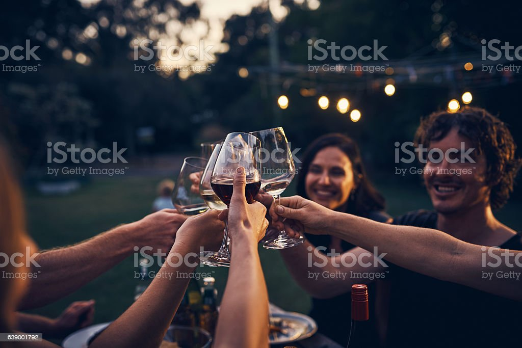 I've been blessed with exquisite taste in wine and friends stock photo