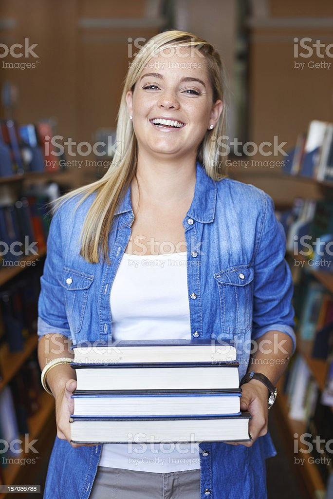 I've got all my study material for the upcoming exams royalty-free stock photo