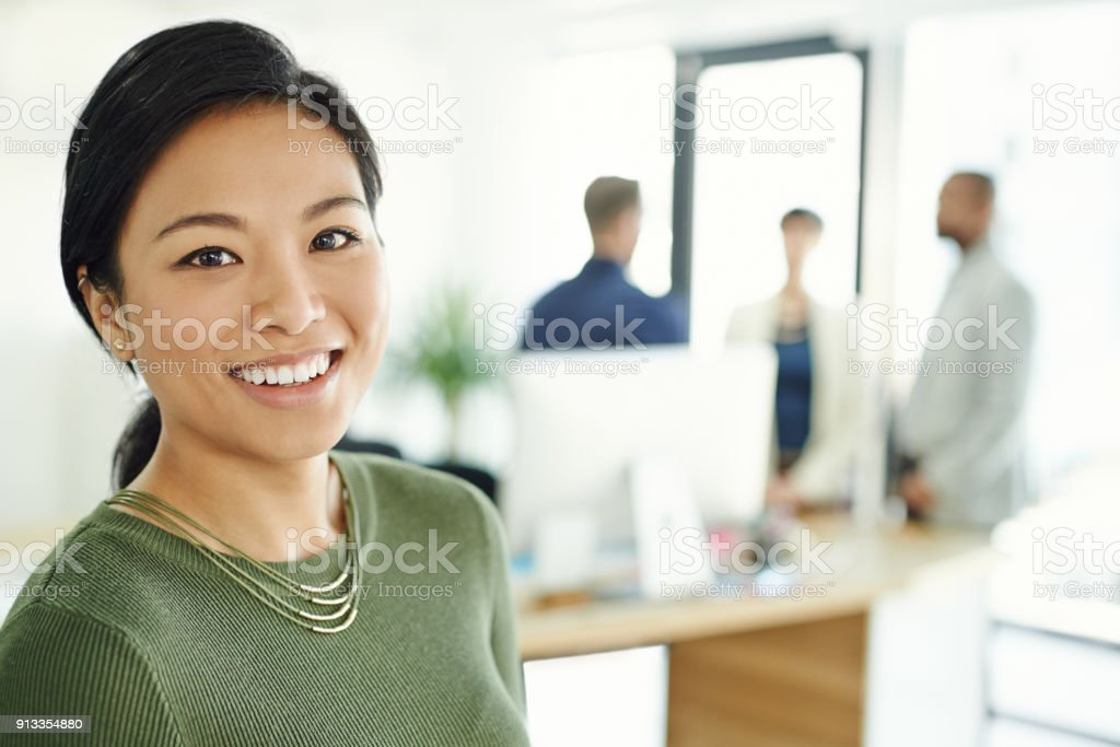I've got the best team working right behind me stock photo