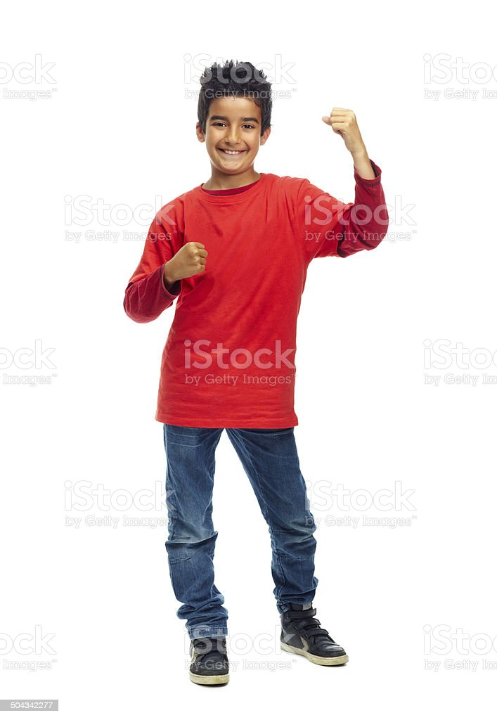 I've got the strength to take over the world! stock photo