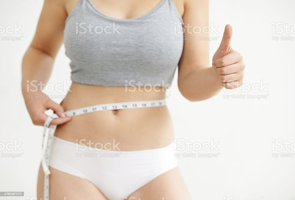I've lost inches! stock photo
