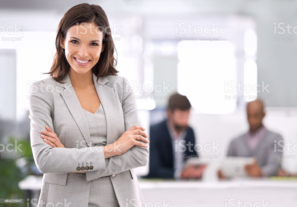 I've worked hard, and I'm proud to be here! stock photo