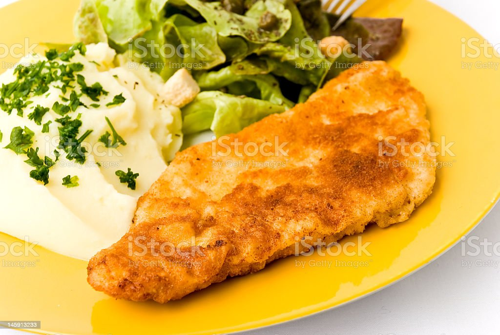 veal cutlet with breadcrumbed royalty-free stock photo