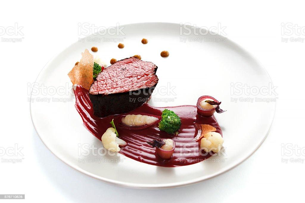 Veal fillet. Molecular cuisine with steak. stock photo