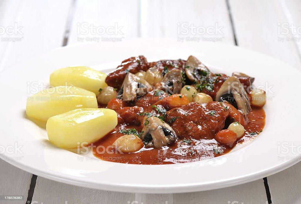 Veal marengo stock photo
