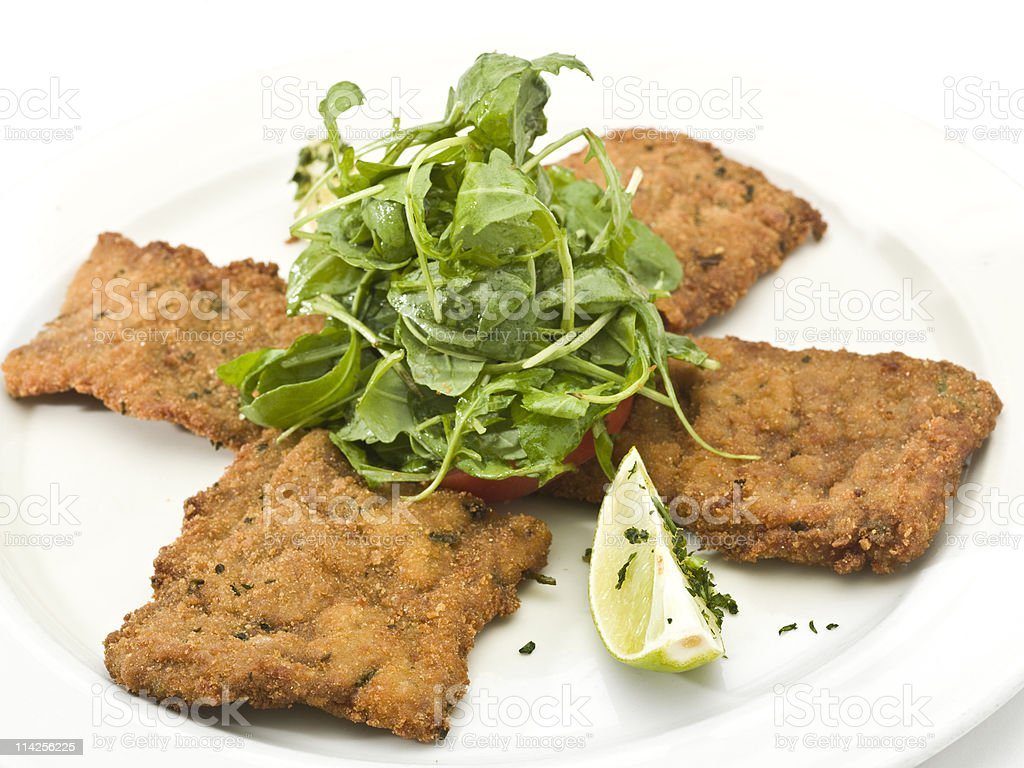 Veal Milanese with Salad royalty-free stock photo