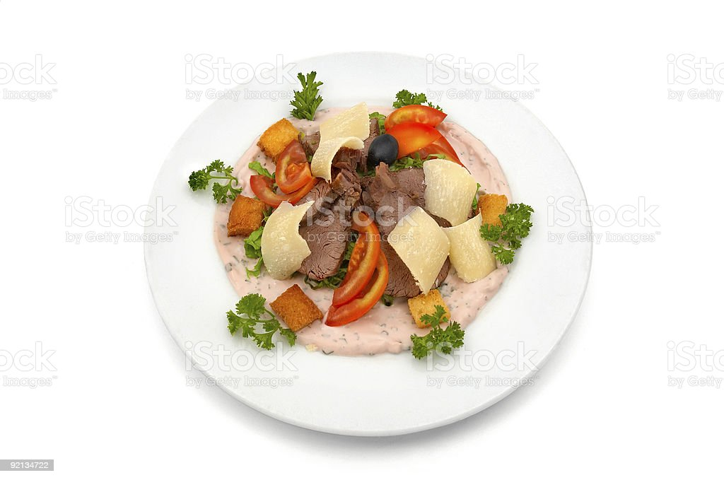 Veal salad with vegetables and parmesan royalty-free stock photo