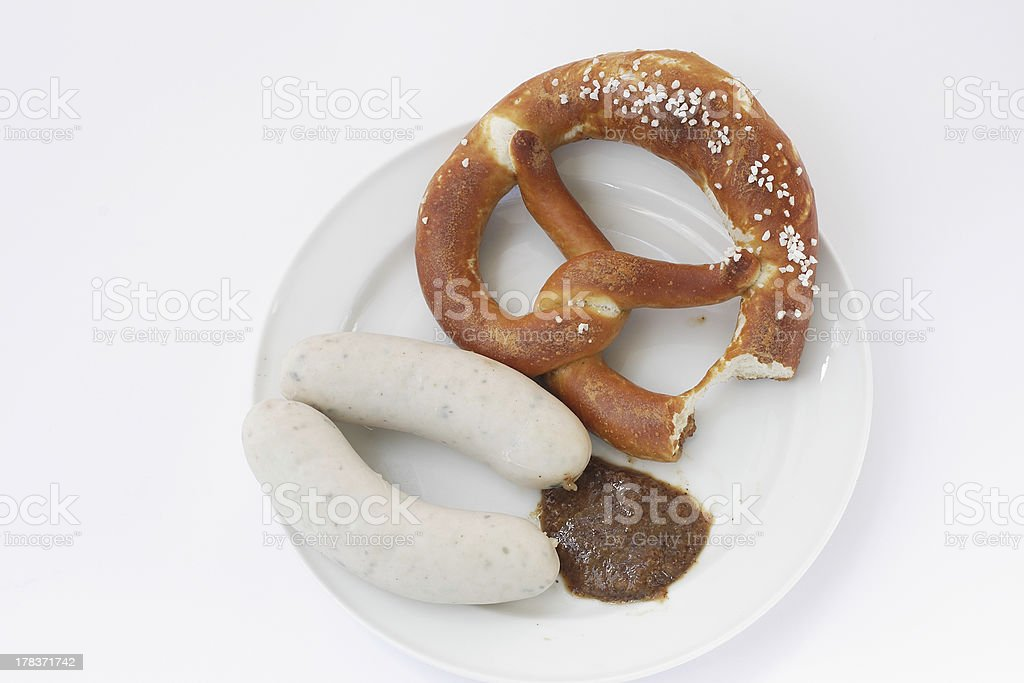 Veal Sausages and Pretzel royalty-free stock photo