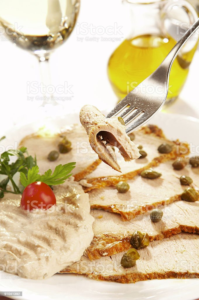 Veal slices with tuna sauce royalty-free stock photo