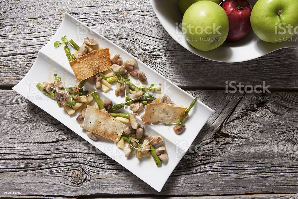 veal sweetbreads,apple lacquer stock photo