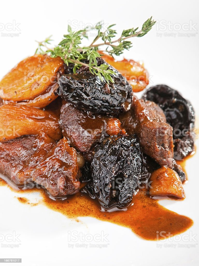 Veal with dried fruits royalty-free stock photo