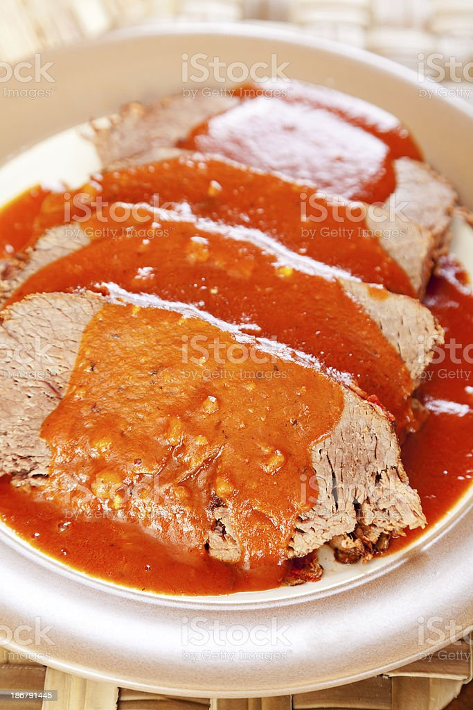 Veal with tomato sauce royalty-free stock photo