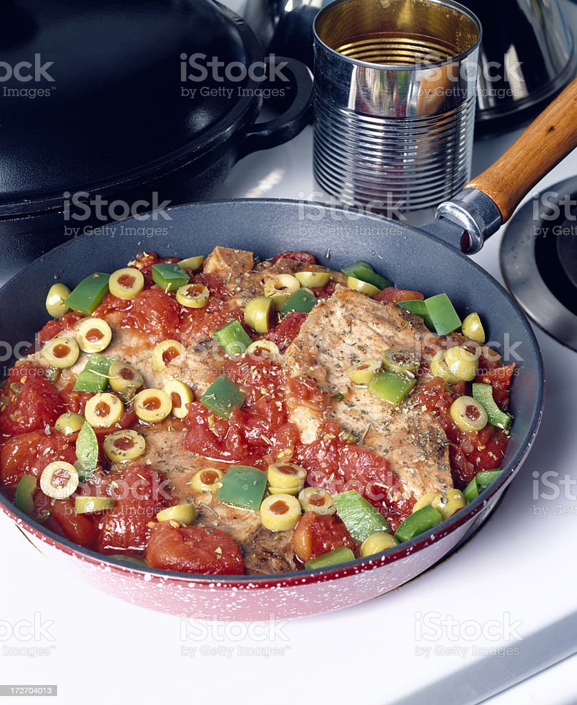 Veal with tomatoes and olives royalty-free stock photo