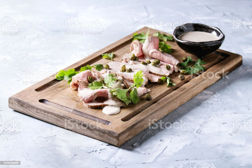 Veal with tuna sauce vitello tonnato stock photo