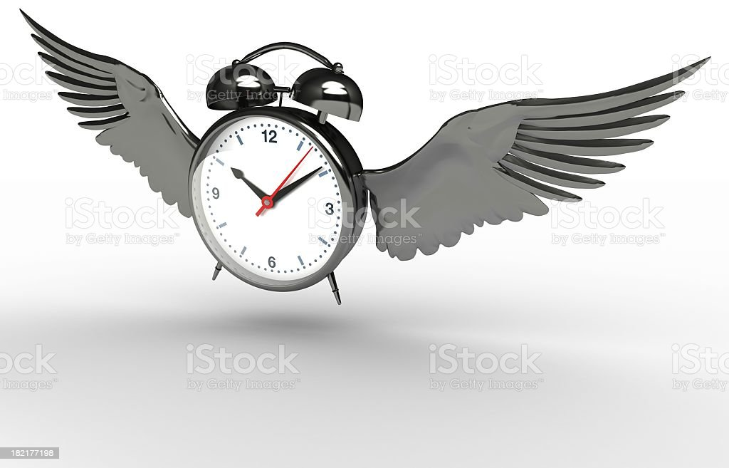 Vector alarm clock with wings over a white background stock photo