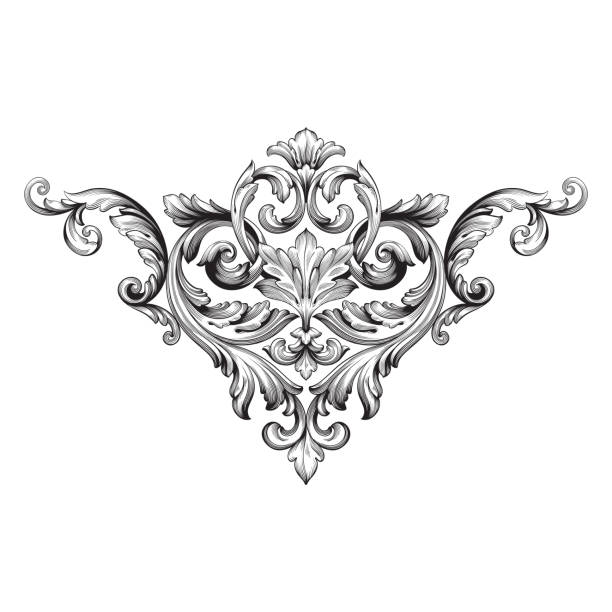 Vector baroque of vintage elements for design. stock photo