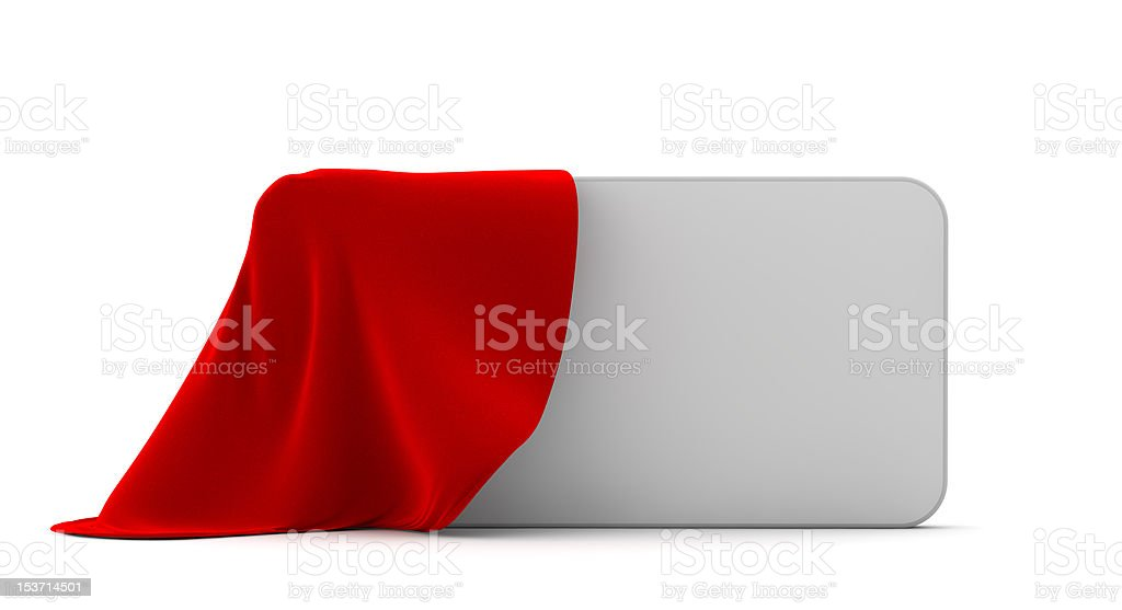 Vector billboard being uncovered from red fabric royalty-free stock photo