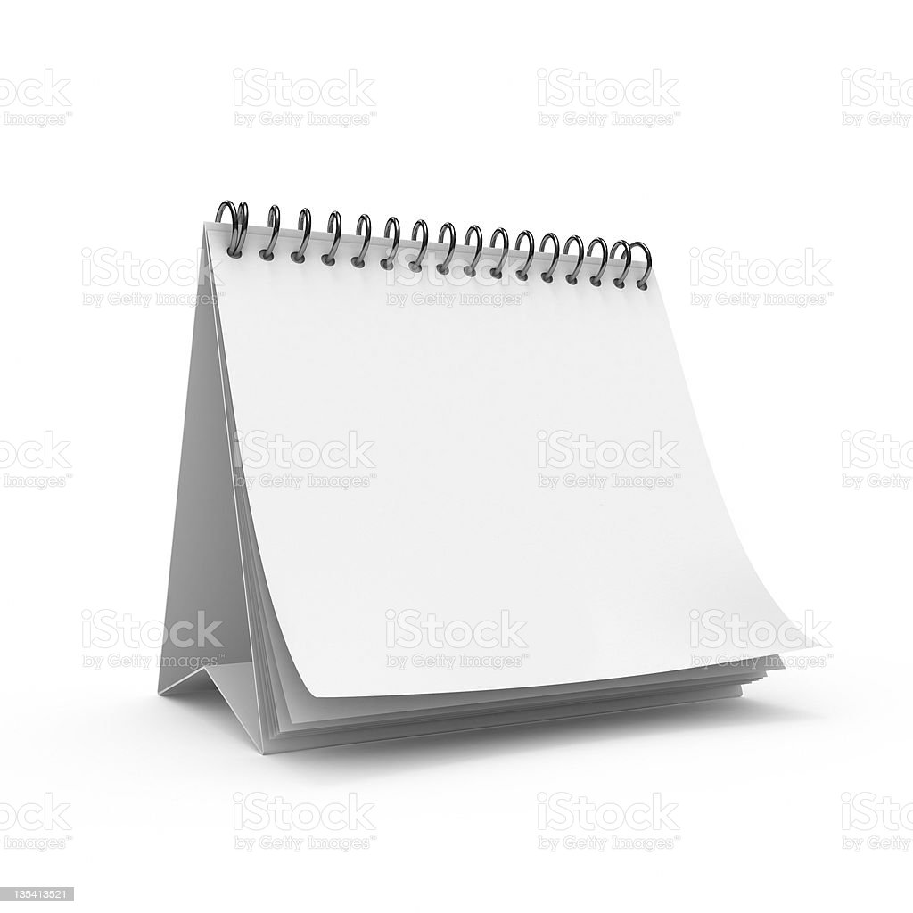 Vector blank calendar on white background royalty-free stock photo