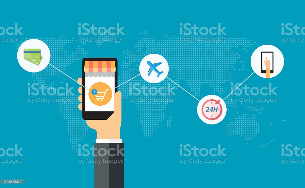 vector business mobile online shopping and e-commerce concept stock photo