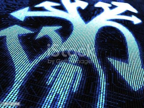 istock Vector digital man with arrows illustration in blue tones 155143256