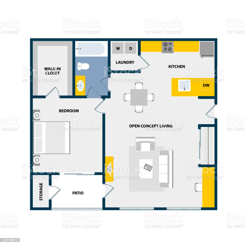Vector floor plan top view with furniture graphic elements. One bedroom one bath, open concept living room flat. stock photo