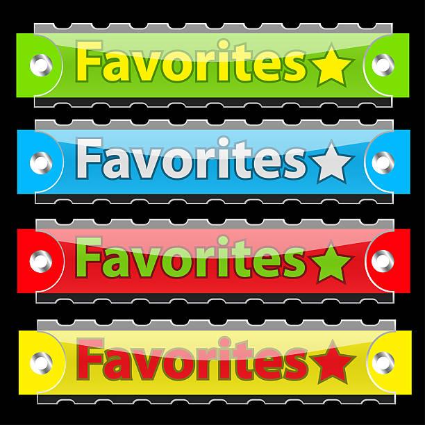 botões de vetor brilhante com etiqueta de favoritos. - tag vector imagens e fotografias de stock