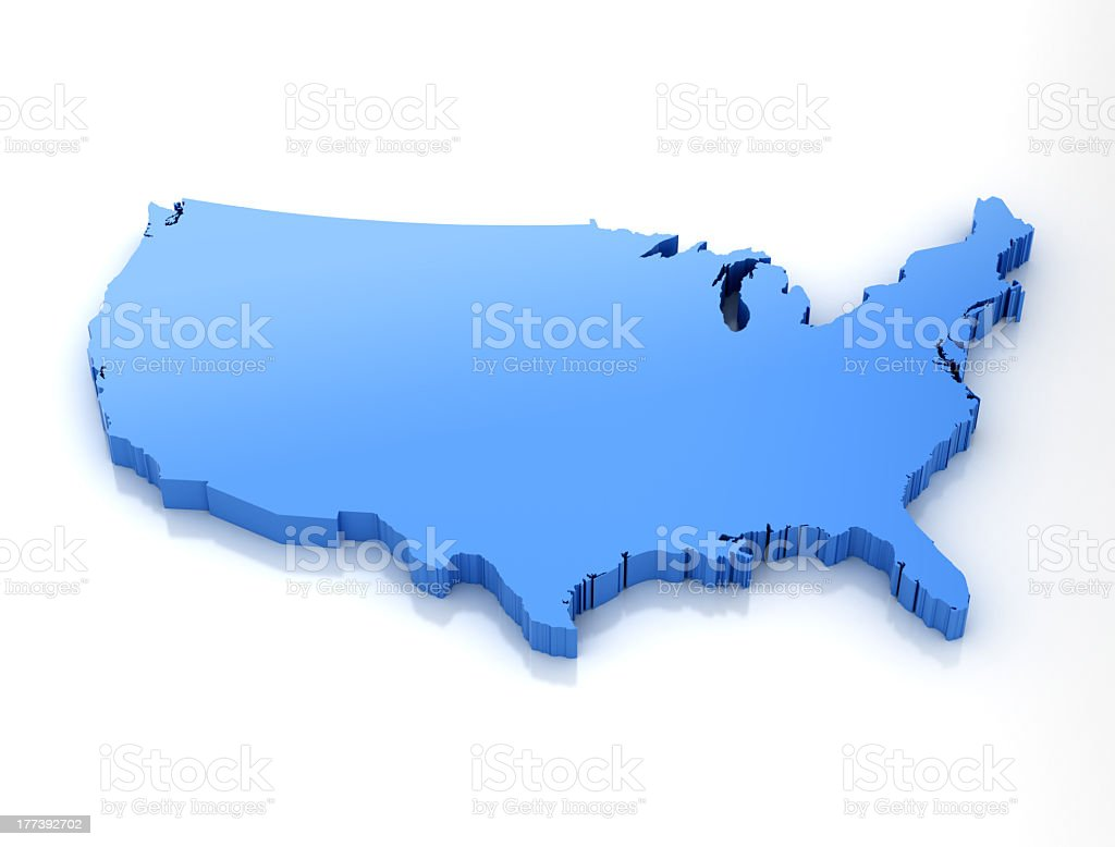 Vector graphic on mainland United States in blue stock photo