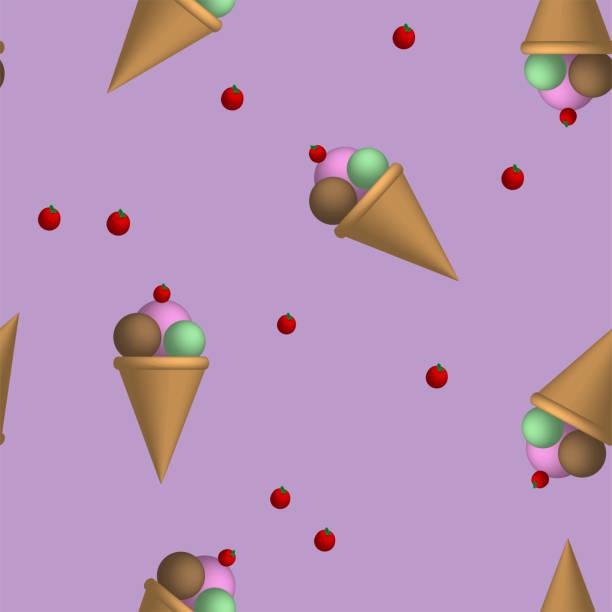Vector ice cream seamless pattern stock photo