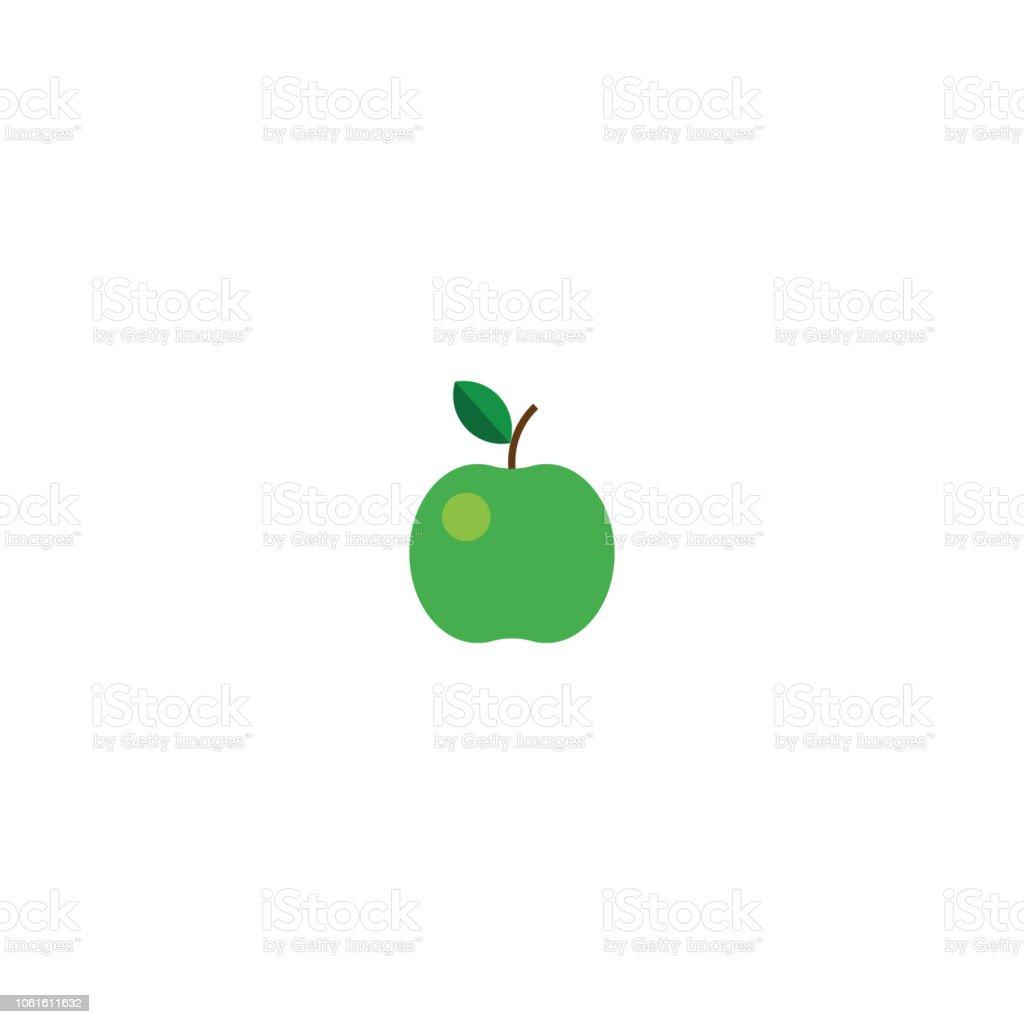 Vector illustration. Green flat apple icon on white background stock photo