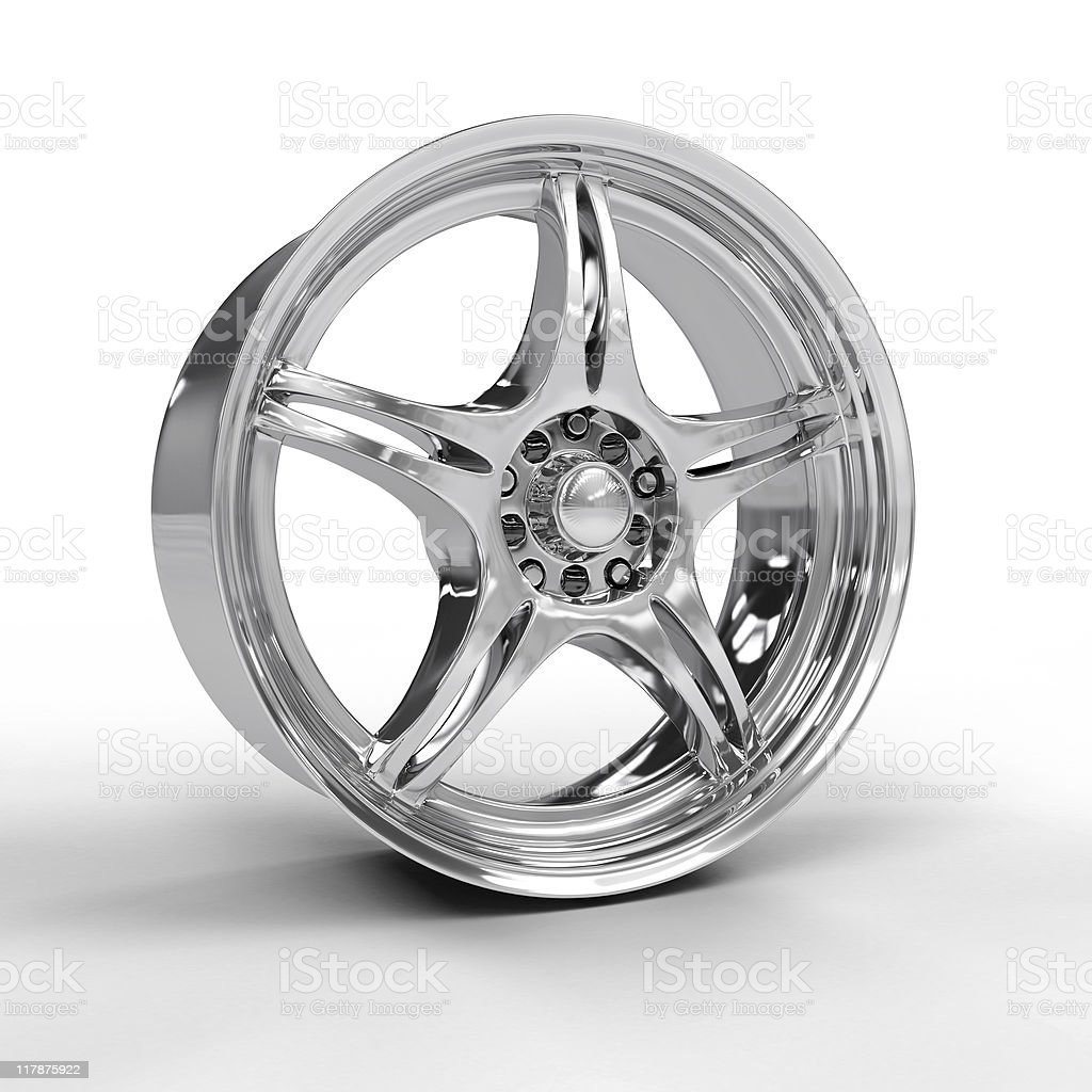Vector illustration of a car's silver alloy rim stock photo