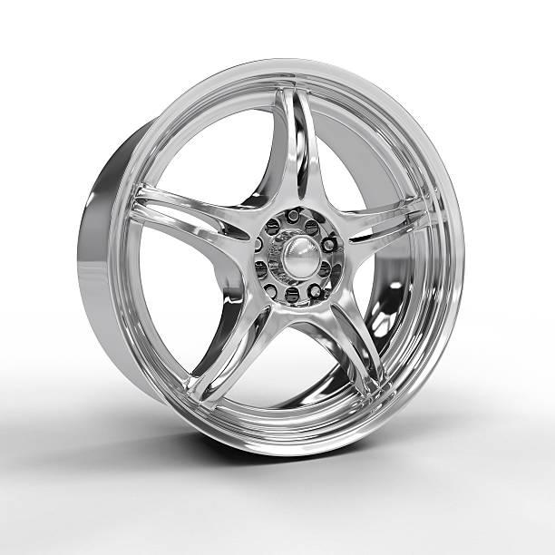 Vector illustration of a car's silver alloy rim stock photo