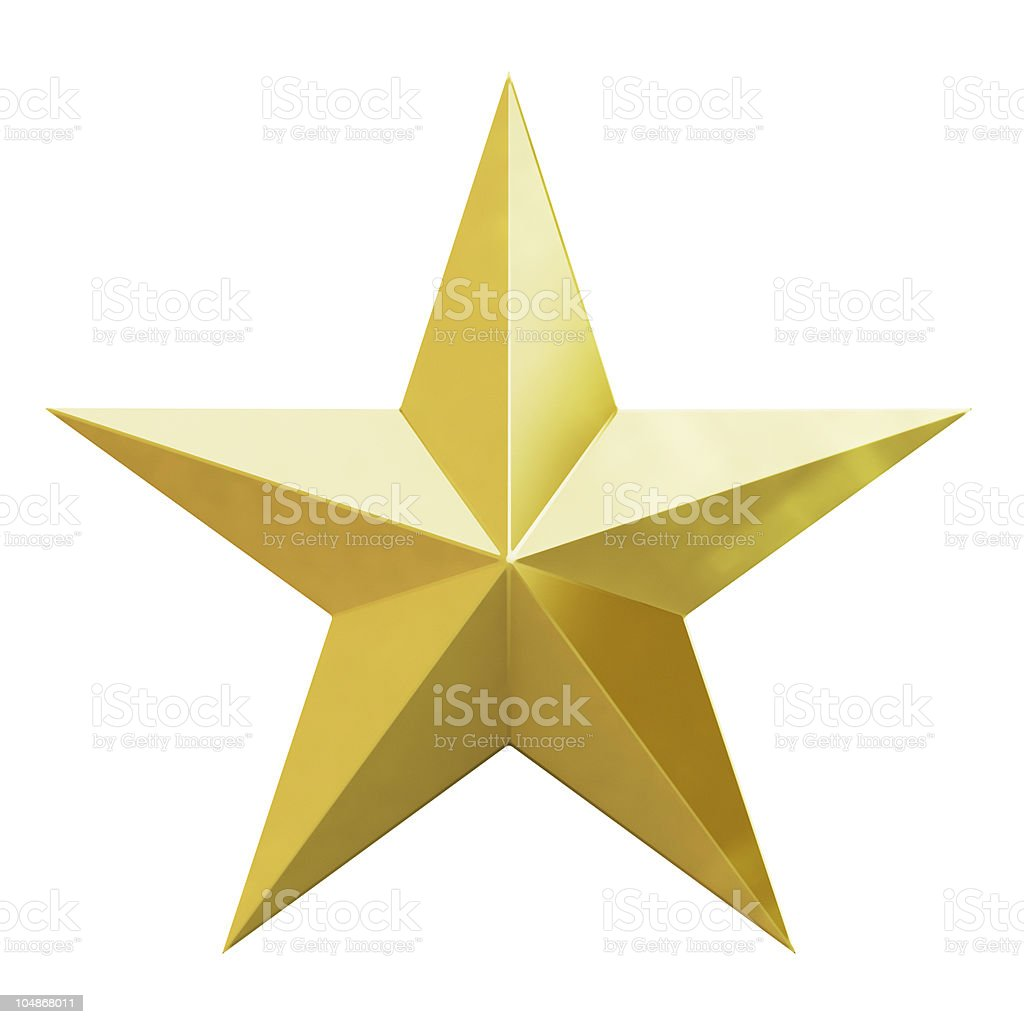 Vector illustration of a Christmas gold star on white stock photo