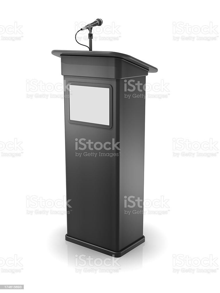 Vector illustration of a gray podium with screen and mic stock photo