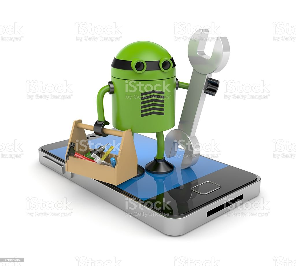 Vector illustration of a green robot fixing a mobile phone stock photo