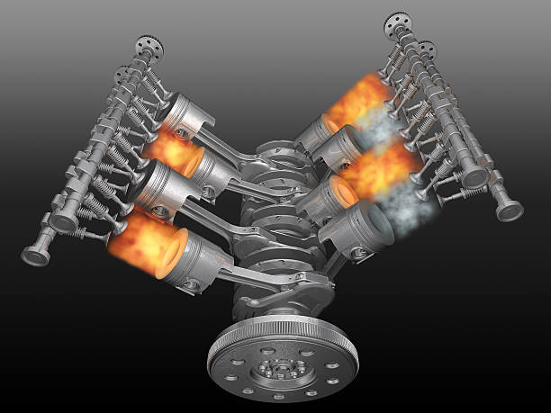 vector illustration of a motor running - cyclic stock pictures, royalty-free photos & images