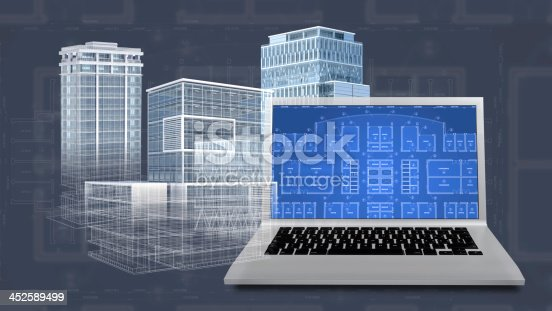 istock Vector illustration of an architectural project's blueprint 452589499