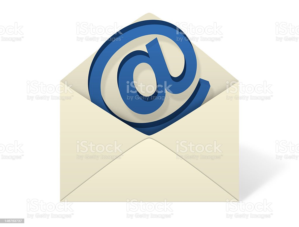 Vector illustration of an open email envelope An illustration of an envelope open with an emerging @  symbol coming out from inside the envelope. Communication Stock Photo