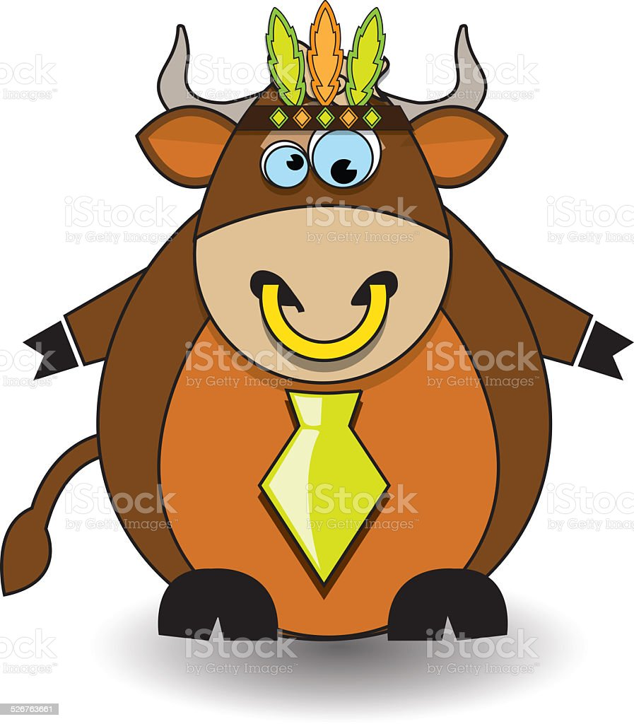 Vector illustration of bull with feathers stock photo