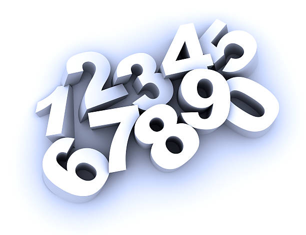 3D vector illustration of numbers from zero to nine stock photo