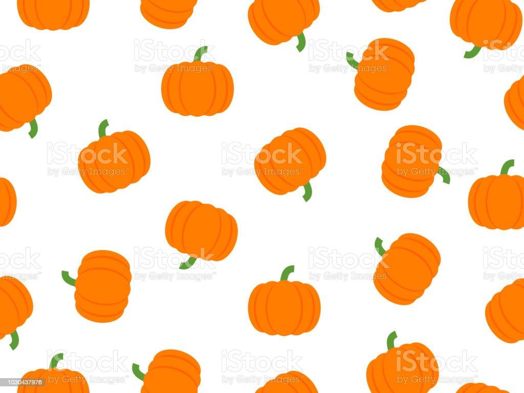 Vector illustration of pumpkin seamless pattern on white background stock photo