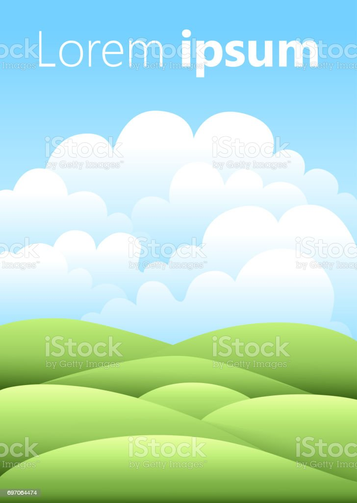 Vector illustration.Bright nature landscape with sky, hills and grass. Rural scenery. Field and meadow stock photo