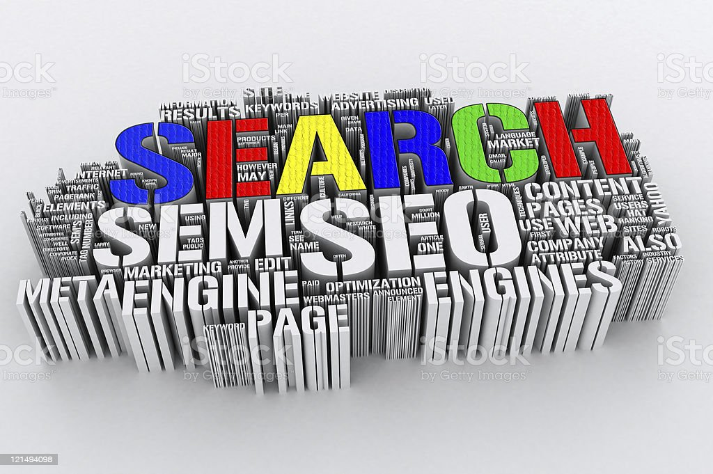 Vector image made up of 3D words related to internet search stock photo