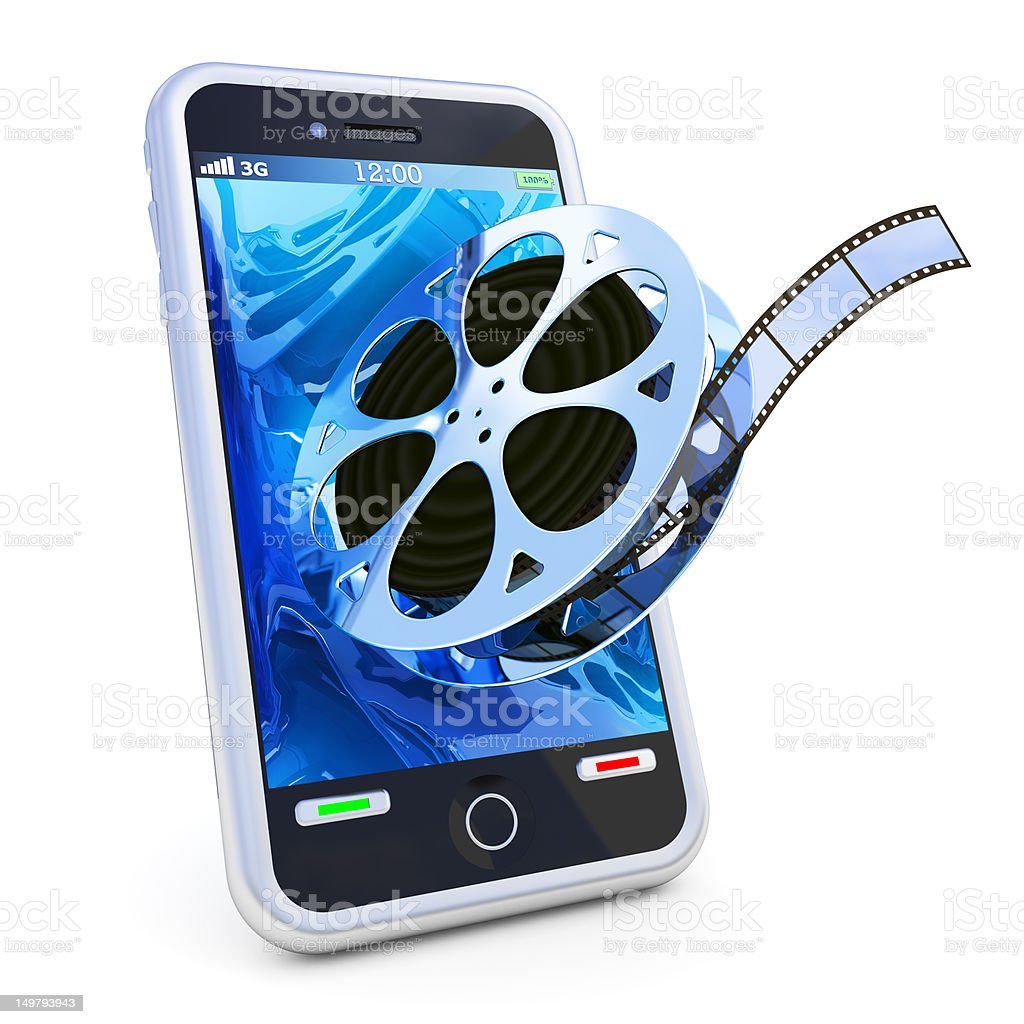 Vector image of film roll coming out of a touch screen phone stock photo