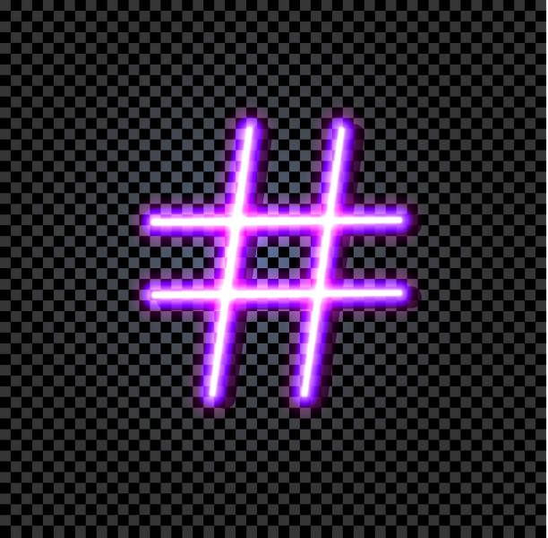 vector neon ultraviolet hash tag sign isolated on dark transparent background, icon. - tag vector imagens e fotografias de stock